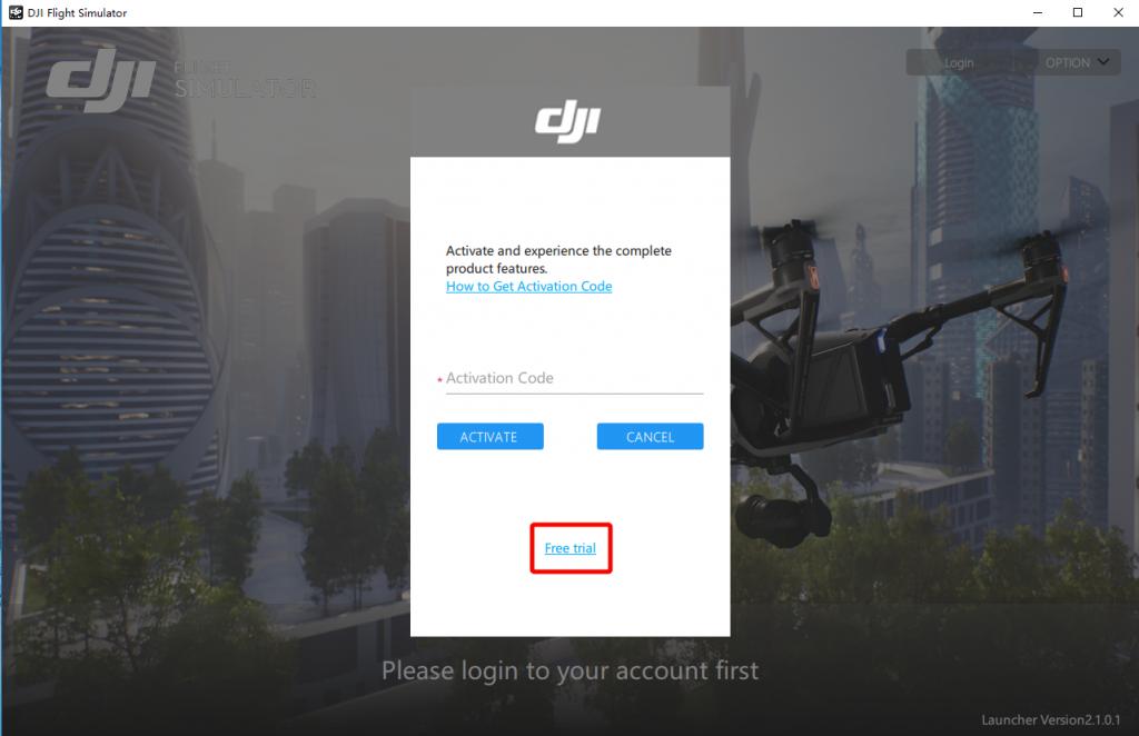 ورود به نرم افزار شبیه ساز پرواز Dji