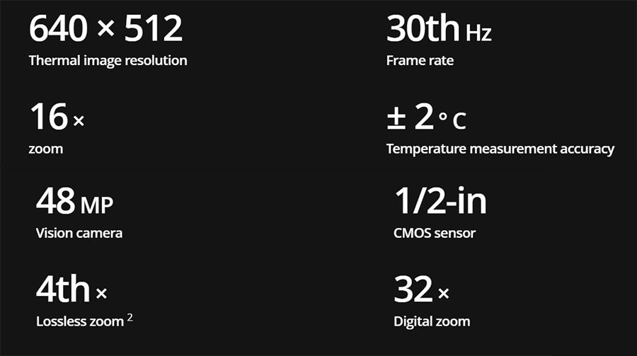 مشخصات دوربین thermal حرارتی پهپاد مویک 2 اینترپرایز ادونسد